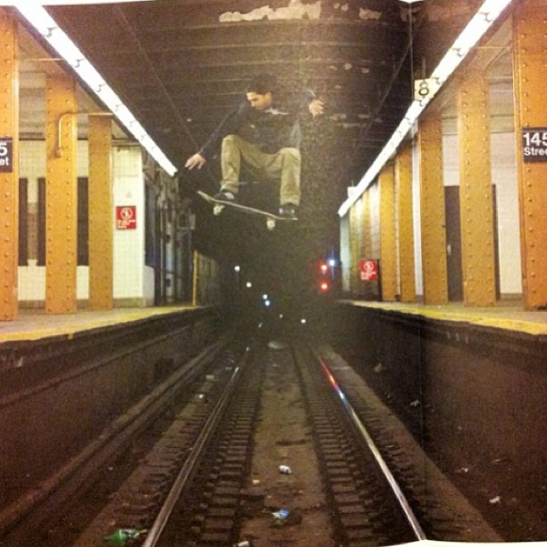 Photo:  Skater Jumping Tracks in 145 Street Train Station