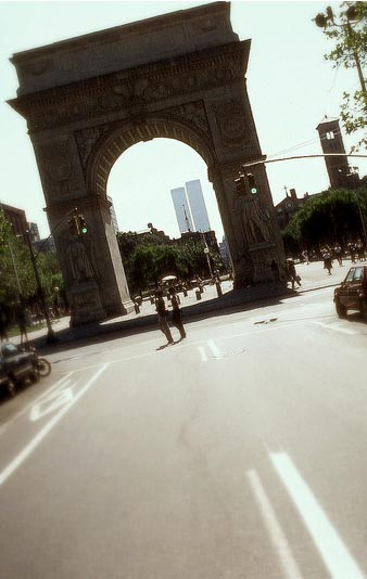 Photo: View of the World Trade Center through Washington Square Arch